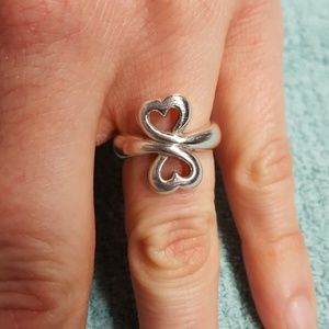 James Avery Sterling silver double heart ring